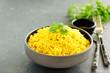 Leinwandbild Motiv Vegetarian rice with curry and cashew nuts.
