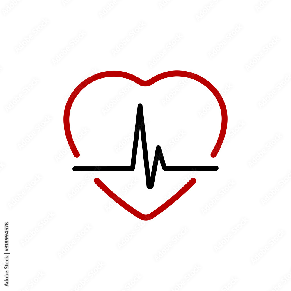 Fototapeta Heartbeat line with Heart red. Heart beat line black icon with red heart in linear design, isolated on white background. Pulse trace in modern flat style. Vector illustration