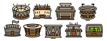Arena Icons Set. Outline Set O...