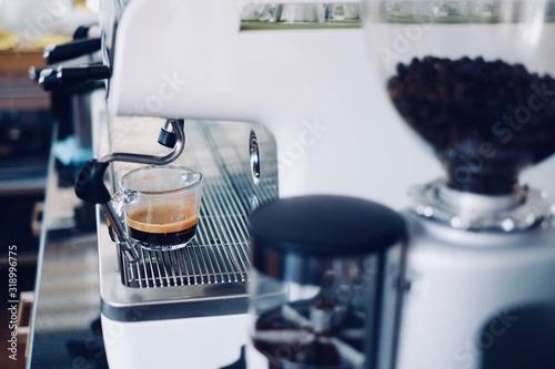 Fotografering Close-Up Of Espresso Maker At Cafe