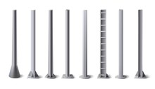 Metal Poles. Steel Construction Pole, Aluminum Pipes And Metal Column Vector Illustration Set. Bundle Of Metallic Vertical Pillars, Posts, Rails For Upright Support In Construction And Engineering.