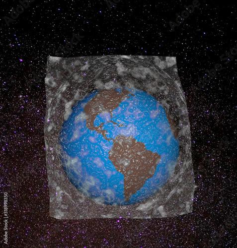 Ilustración que representa la tierra dentro de una bolsa de plástico Canvas Print