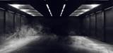 Fototapeta Scene - Smoke Neon Glowing Fluorescent White  Laser Lights Stage Stadium Studio Hallway Tunnel Corridor Concrete Grunge Alien Modern Empty Futuristic Sci Fi 3D Rendering