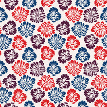 A Seamless Vector Pattern With Red, Blue And Purple Flowers On A White Background. Decorative Surface Print Design.