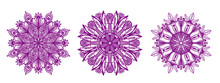 Ornamental Round Floral Hand Drawn Pattern. Set Of Three Purple Mozaic Mandalas, Kaleidoscope, For Coloring, Antistress, Decoration And Design