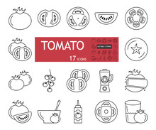 Tomato Set Icons. A Collection Of 17 Linear Images With An Editable Stroke. The Whole Vegetable, Cut, Slices, Halves. Tomato Soup, Juice, Ketchup. Flat Vector Illustration Isolated On White Background