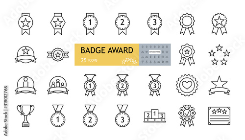Obraz Badge award set icons. A collection of 25 linear images with an editable stroke. Medals with a star, a heart, on a garter, with a ribbon, a podium, a sports cup. Flat vector illustration on white back - fototapety do salonu