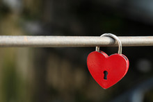 Red Heart Lock As A Symbol For...