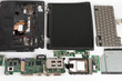 Disassembled laptop, notebook components, monitor, keyboard, motherboard, hard disk drive, CD ROM drive