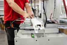 Manual Worker Cutting Aluminum...