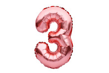 Number 3 Three, Made Of Rose Golden Inflatable Helium Balloon. Gold Pink Foil Balloon Font Part Of Full Set Of Numbers, Isolated On White. Birthday Party Celebration, Sales And Discounts Concept