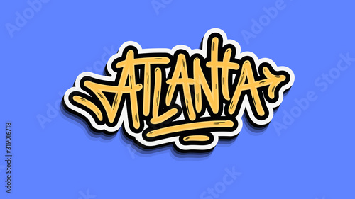 Atlanta Georgia Usa Hand Lettering Sticker Design. Wallpaper Mural