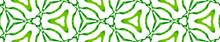 Green Medallion Seamless Border Scroll. Geometric