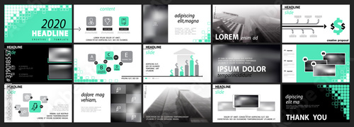 Obraz Business presentation template, turquoise and black infographic elements on white background. Offices, buildings. Vector slide, presentation of business projects and marketing. Design squares pixels - fototapety do salonu