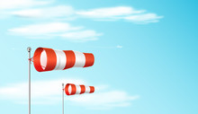 Windsock On The Blue Sky. Red And White Airport Wind Flag Showing Wind Direction And Speed. Realistic Vector Illustration.