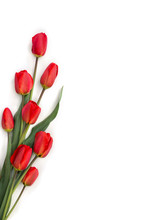 Beautiful Red Tulips On A White Background With Space For Text. Top View, Flat Lay
