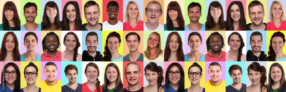 Fototapeta Collage group portraits of multiracial multicultural young smiling people panorama background faces