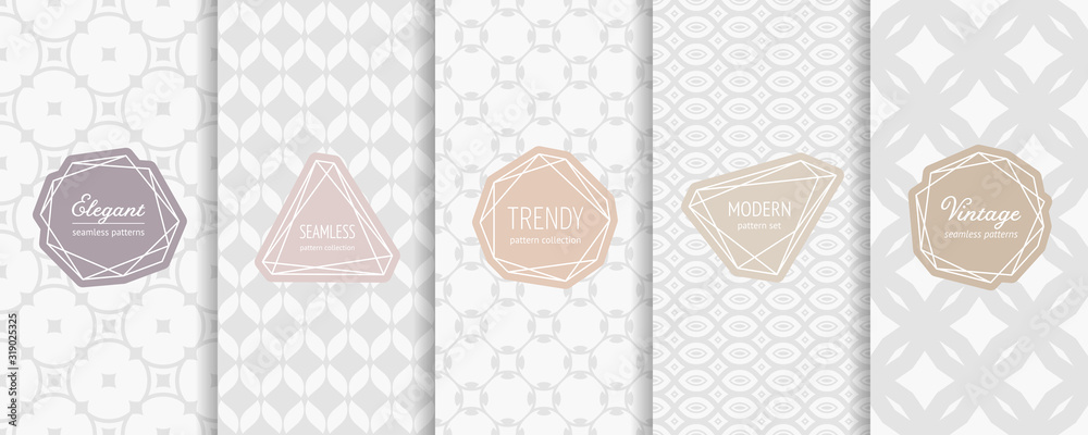 Fototapeta Subtle vector seamless pattern collection. Set of elegant geometric background swatches with modern minimal labels. Simple abstract vintage textures with mesh, net, floral motif. Light pastel design