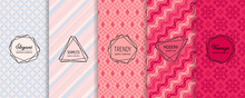 Vector Geometric Seamless Patterns Collection. Set Of Elegant Colorful Background Swatches With Modern Minimal Labels. Cute Abstract Textures. Design In Blue, Pink, Red Color. Romantic Wedding Decor