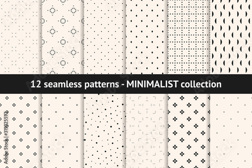 Set of minimalist seamless patterns Canvas Print
