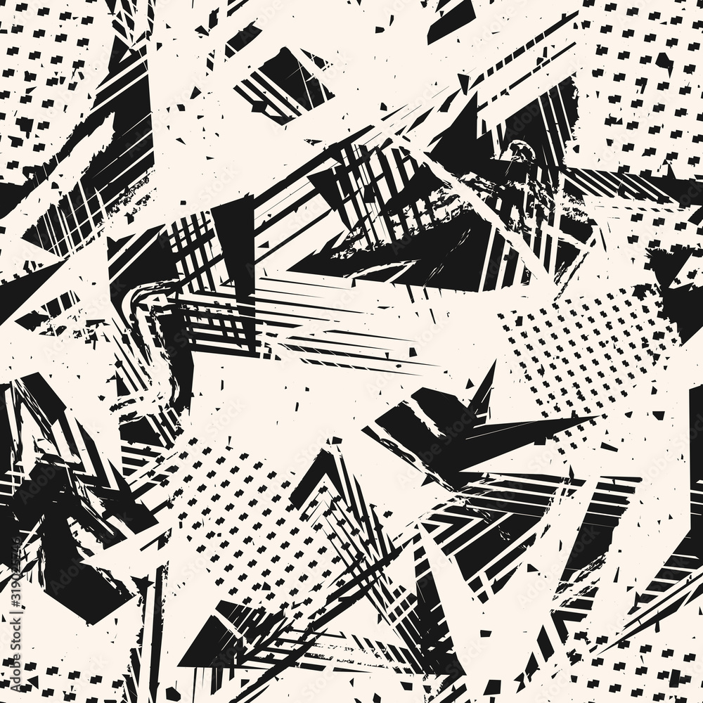 Fototapeta Abstract monochrome grunge seamless pattern. Urban art texture with paint splashes, chaotic shapes, lines, dots, triangles, patches. Black and white graffiti style vector background. Repeat design