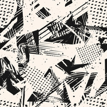 Abstract Monochrome Grunge Seamless Pattern. Urban Art Texture With Paint Splashes, Chaotic Shapes, Lines, Dots, Triangles, Patches. Black And White Graffiti Style Vector Background. Repeat Design