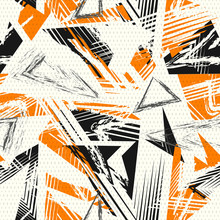 Abstract Seamless Geometric Pattern. Colorful Sport Style Vector Illustration. Modern Grunge Urban Art Texture With Chaotic Lines, Triangles, Dots, Brush Strokes. Black, Orange, Gray And Beige Color