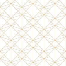 Golden Lines Pattern. Vector Geometric Seamless Texture With Delicate Grid, Thin Lines, Diamonds, Rhombuses, Squares. Abstract Gold And White Graphic Background. Art Deco Ornament. Subtle Design