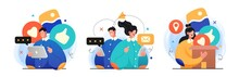 Collection Of Social Media Network And Digital Communication Concept Illustrations. Perfect For Web Design, Banner, Mobile App, Landing Page. Vector