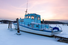 Boat Is Stuck In Ice In The Wi...