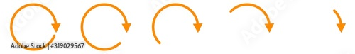 Valokuva Arrow Icon Orange | Circle Arrows | Infographic Illustration | Direction Symbol