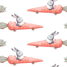 Cute Watercolor Seamless Pattern. Wallpaper With Sweet Fantasy Bunneis Cartoon Animals With Carrots On White Background. Hand Drawn Vintage Texture.
