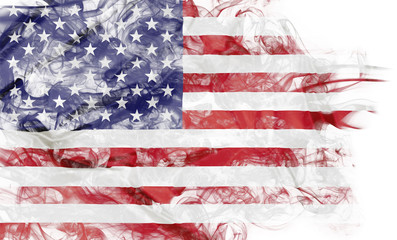 Fototapeta Do pokoju młodzieżowego Smoke shape of national flag of United States of America isolated on white background.