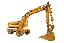Side View Of Yellow Excavator ...