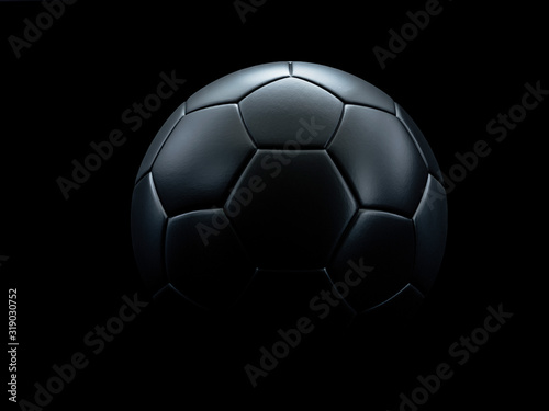 Stampa su Tela Black football against black background.