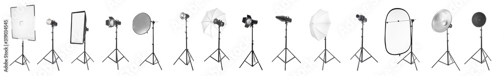 Fototapeta Set of different professional equipment for photo studio on white background