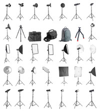 Set Of Different Professional Equipment For Photo Studio On White Background