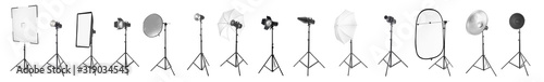 Papel de parede Set of different professional equipment for photo studio on white background