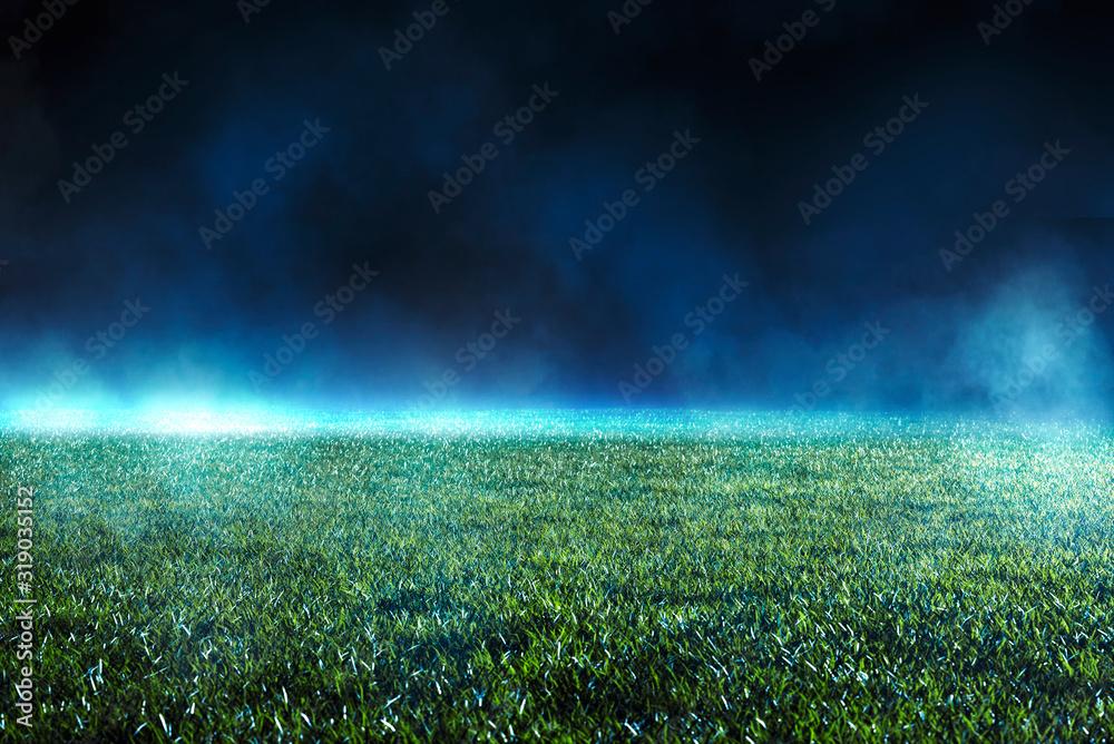 Fototapeta Empty green turf on a sports field in a stadium