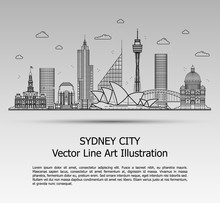 Line Art Vector Illustration Of Modern Sydney City With Skyscrapers. Flat Line Graphic. Typographic Style Banner. The Most Famous Buildings Cityscape On Gray Background.
