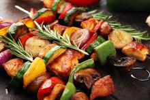 Grilled Pork Shish Or Kebab On...