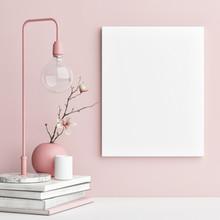 Mock Up Poster With Pink Backg...