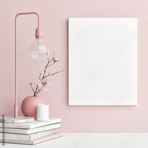 Obraz Mock up poster with pink background wall - fototapety do salonu