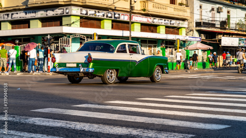 Havana, Cuba. Old classic car on street of the capital. Canvas Print