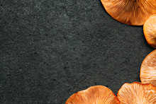 Chanterelle Mushrooms On A Bla...