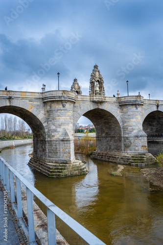 Views of the Toledo Bridge, located in the park of Madrid River over the Manzana Canvas Print