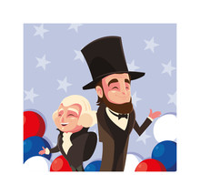Cartoon Of Presidents George Washington And Abraham Lincoln, President Day