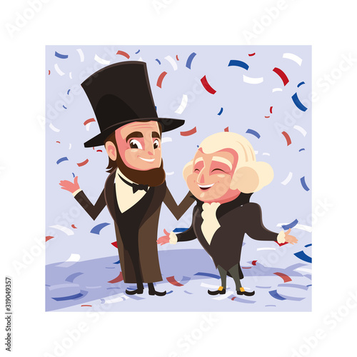 cartoon of presidents george washington and abraham lincoln, president day Fotomurales