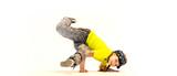little girl in breakdance pose