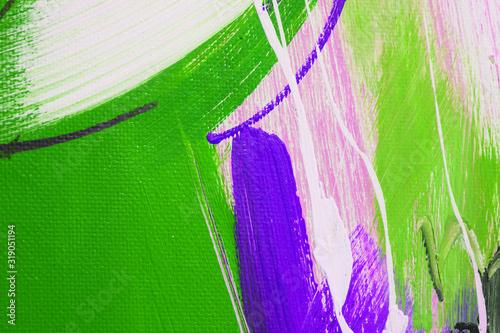 Quadro astratto, baffo viola e verde su bianco